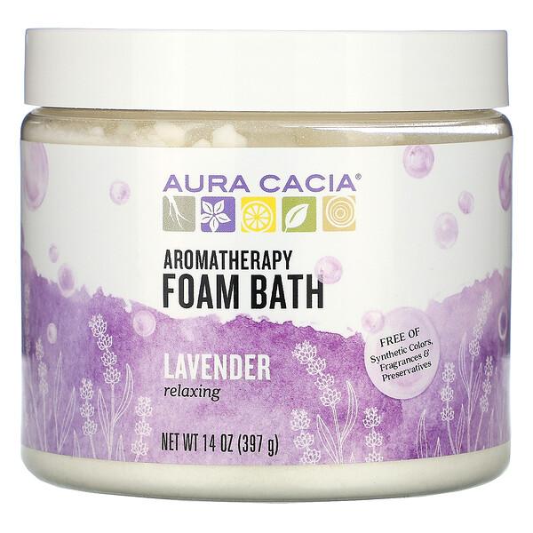 Aura Cacia, Ароматерапевтическая пена для ванны, расслабляющая лаванда, 14 унций (397 г)