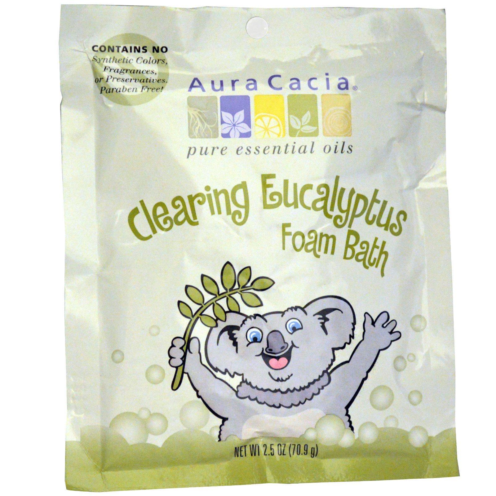 Aura Cacia, Освежающая пенна для ванны, эвкалипт, 2,5 унции (70,9 г)