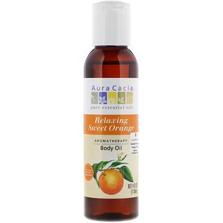 Aura Cacia, アロマテラピー ボディ オイル, リラクシング スイートオレンジ, 4 fl oz (118 ml)