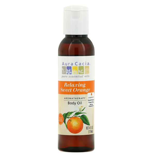 Aromatherapy Body Oil, Relaxing Sweet Orange, 4 fl oz (118 ml)