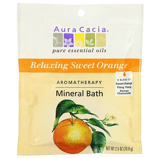 Aura Cacia, Aromatherapy Mineral Bath, Relaxing Sweet Orange, 2.5 oz (70.9 g)