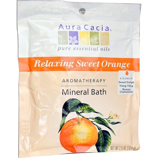 Aura Cacia, Aromatherapy Mineral Bath, Relaxing Sweet Orange, 2.5 oz (70.9 g)