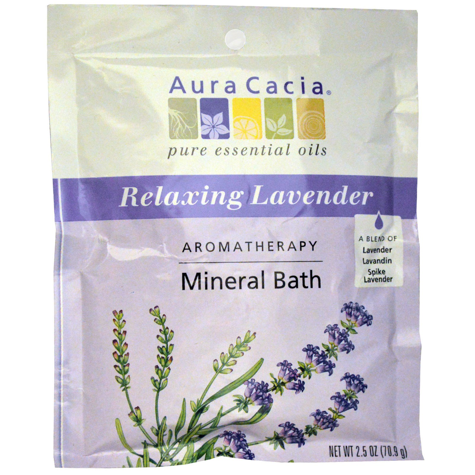 Aura Cacia, Aromatherapy Mineral Bath, расслабляющая лаванда, 70,9 г (2,5 унций)