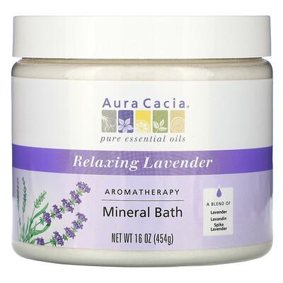 Купить Aura Cacia Ароматерапевтическое минеральное средство для ванны, расслабляющая лаванда, 16 унций (454 г)