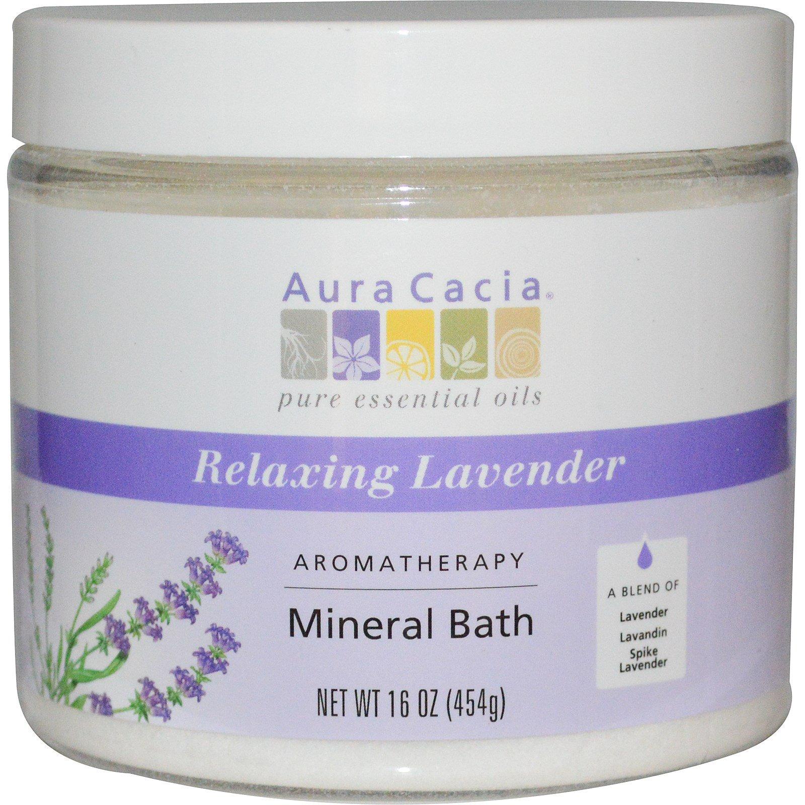 Aura Cacia, Ароматерапевтическое минеральное средство для ванны, расслабляющая лаванда, 16 унций (454 г)