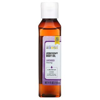 Aura Cacia, Aromatherapy Body Oil, Relaxing Lavender, 4 fl oz (118 ml)