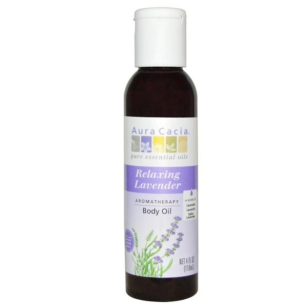 Aura Cacia, 芳香療法身體油,舒緩薰衣草,4液盎司(118毫升)