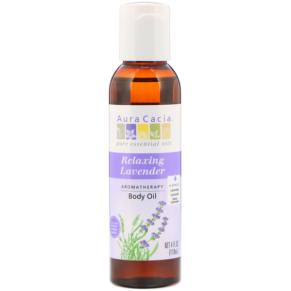 Aura Cacia, Aromatherapy Body Oil, Relaxing Lavender, 4 fl oz (118 ml)