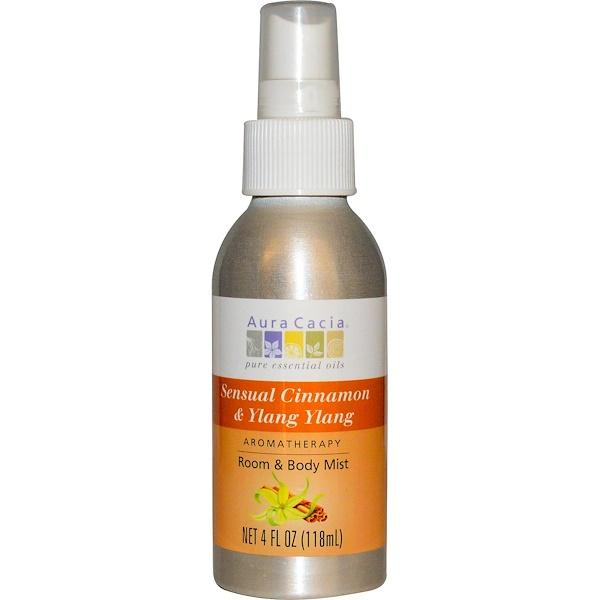 Aura Cacia, Aromatherapy Mist, Room & Body Mist, Sensual Cinnamon & Ylang Ylang, 4 fl oz (118 ml) (Discontinued Item)