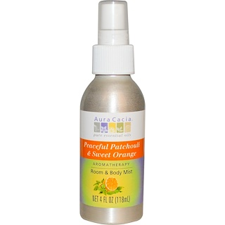 Aura Cacia, Room & Body Mist, Peaceful Patchouli & Sweet Orange, 4 fl oz (118 ml)