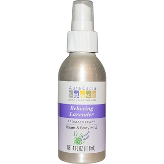 Aura Cacia, Aromatherapy Room & Body Mist, Relaxing Lavender, 4 fl oz (118 ml)