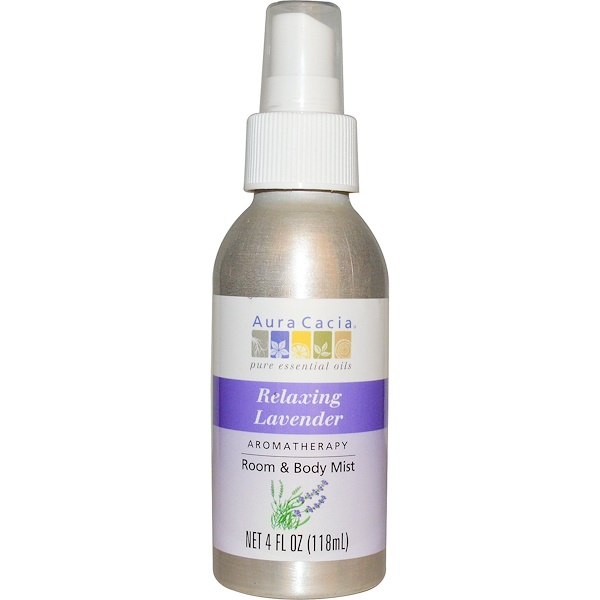 Aura Cacia, アロマテラピールーム&ボディミスト、 リラックシングラベンダー、 4液量オンス (118 ml)