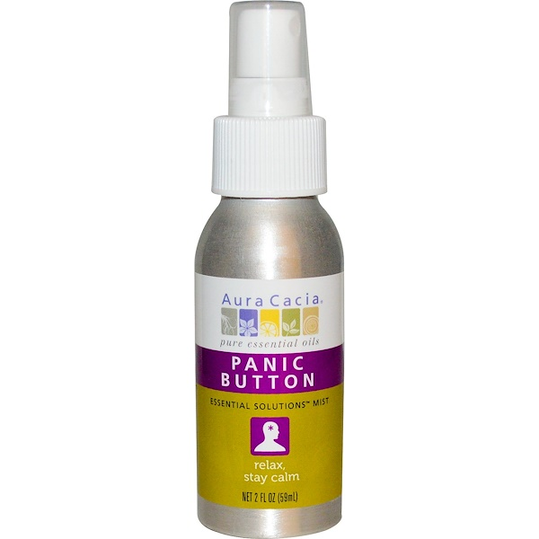 Aura Cacia, Panic Button, Essential Solutions Mist, 2 fl oz (59 ml) (Discontinued Item)