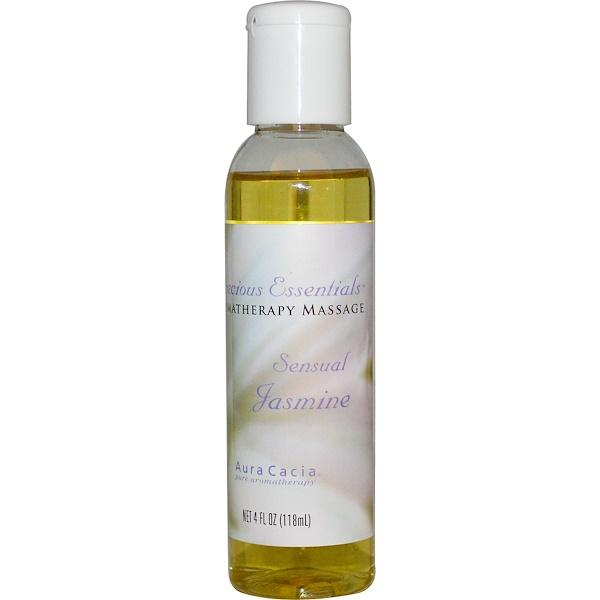 Aura Cacia, Precious Essentials, Aromatherapy Massage, Sensual Jasmine, 4 fl oz (118 ml) (Discontinued Item)