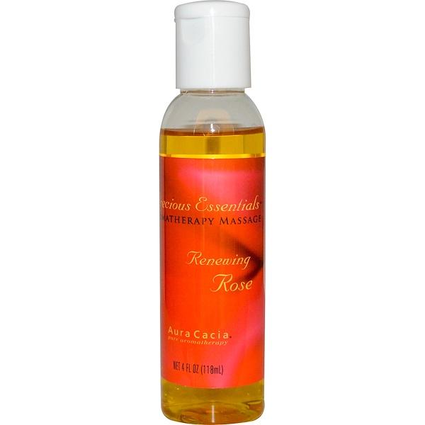 Aura Cacia, Precious Essentials, Aromatherapy Massage, Renewing Rose, 4 fl oz (118 ml) (Discontinued Item)