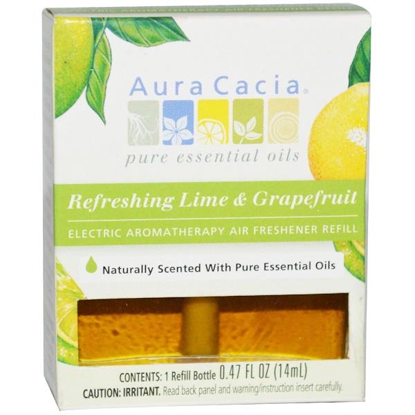 Aura Cacia, Запасной блок для электрического ароматерапевтического освежителя воздуха, освежающий лайм и грейпфрут, 1 запасной флакон, 0,47 жидких унций (14 мл) (Discontinued Item)