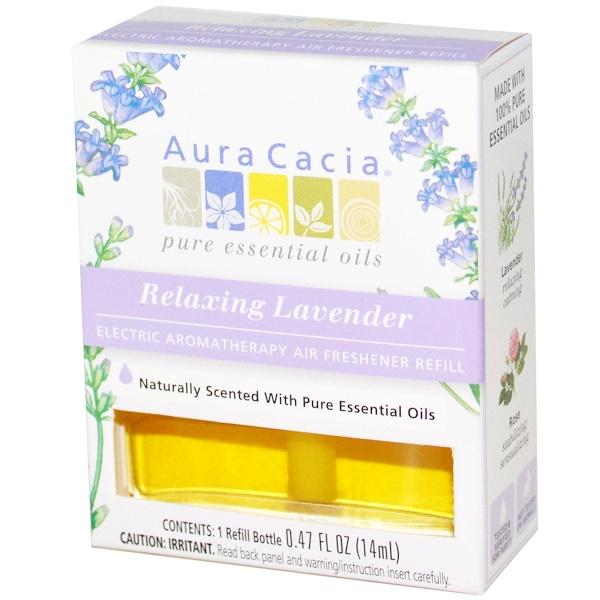 Aura Cacia, Запасной блок для электрического ароматерапевтического освежителя воздуха, расслабляющая лаванда, 0,47 жидких унций (14 мл) (Discontinued Item)