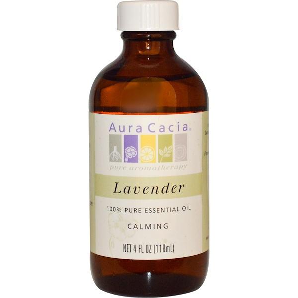 Aura Cacia, 100% Pure Essential Oil, Lavender, 4 fl oz (118 ml)