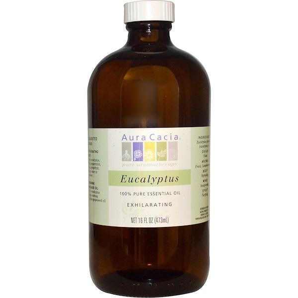 Aura Cacia, 100% чистое эфирное масло эвкалипта, 16 жидких унций (473 мл) (Discontinued Item)