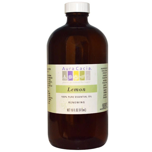 Aura Cacia, 100% Pure Essential Oil, Lemon, 16 fl oz (473 ml) (Discontinued Item)