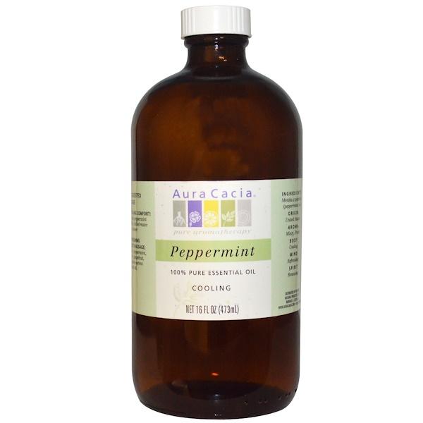 Aura Cacia, 100% Pure Essential Oil, Peppermint, Cooling, 16 fl oz (473 ml) (Discontinued Item)