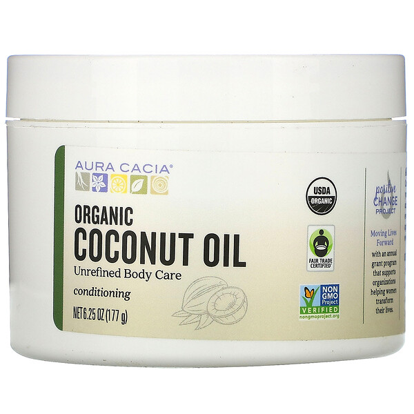 Aura Cacia, Conditioning Organic Skin Care, Coconut Oil, 6.25 oz (177 g) (Discontinued Item)