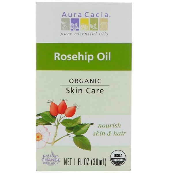 Aura Cacia, オーガニック、ローズヒップオイル、1 fl oz (30 ml) (Discontinued Item)