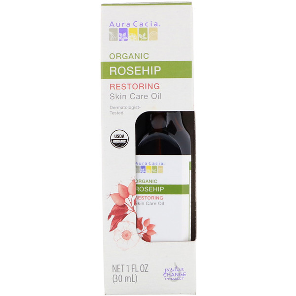 Organic Skin Care Oil, Restoring, Rosehip, 1 fl oz (30 ml)