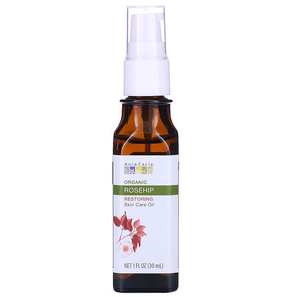 Aura Cacia, Aceite orgánico para el cuidado de la piel, Restaurador, Escaramujo, 1 fl oz (30 ml)