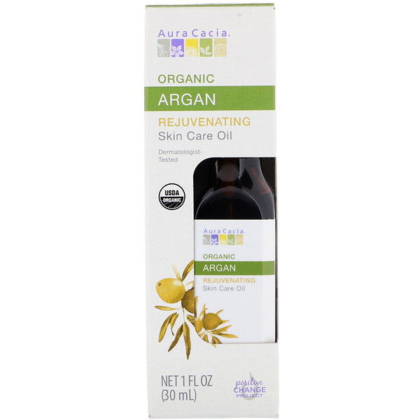 Aura Cacia, Organic Skin Care Oil, Rejuvenating, Argan, 1 fl oz (30 ml)