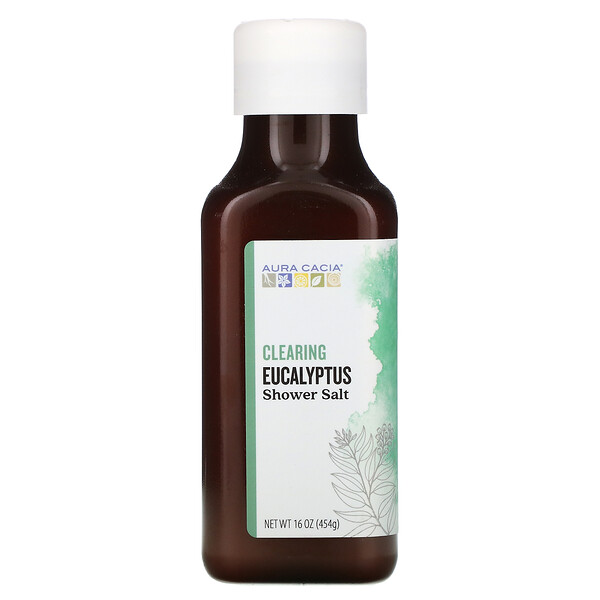 Aura Cacia, Shower Salt, Clearing Eucalyptus, 16 oz (454 g)