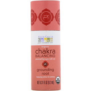 Aura Cacia, Organic Chakra Balancing Aromatherapy Roll-On, Grounding Root, 0.31 fl oz (9.2 ml)