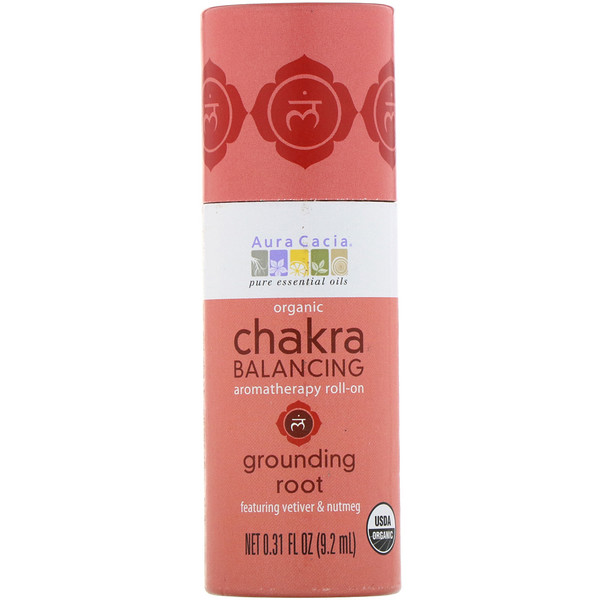 Aura Cacia, Organic Chakra Balancing Aromatherapy Roll-On, Grounding Root, 0.31 fl oz (9.2 ml) (Discontinued Item)