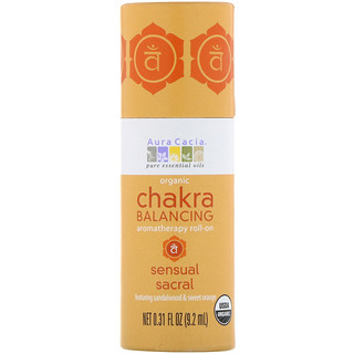 Aura Cacia, Organic Chakra Balancing Aromatherapy Roll-On, Sensual Sacral, 0.31 fl oz (9.2 ml)