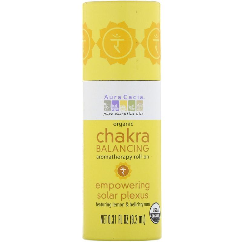 Organic Chakra Balancing Aromatherapy Roll-On, Empowering Solar Plexus, 0.31 fl oz (9.2 ml)