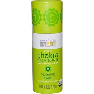 Aura Cacia, Organic Chakra Balancing Aromatherapy Roll-On, Opening Heart, 0.31 fl oz (9.2 ml)