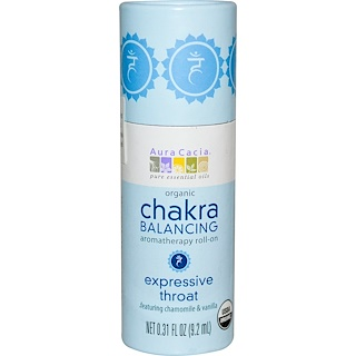 Aura Cacia, Organic Chakra Balancing Aromatherapy Roll-On, Expressive Throat, 0.31 fl oz (9.2 ml)