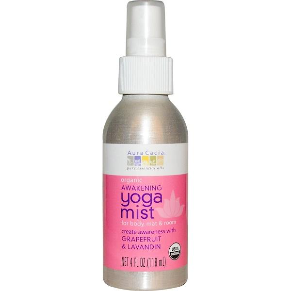 Aura Cacia, 瑜伽霧,有機覺醒,葡萄柚和醒目薰衣草,4液體盎司(118毫升)
