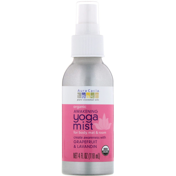 Aura Cacia, Yoga Mist, Organic Awakening, Grapefruit & Lavandin, 4 fl oz (118 ml) (Discontinued Item)