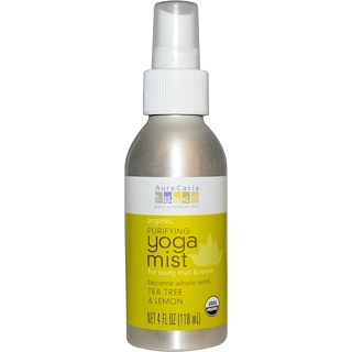 Aura Cacia, Organic, Yoga Mist, Purifying, Tea Tree & Lemon, 4 fl oz (118 ml)