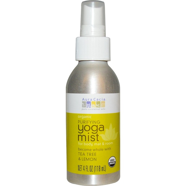 Aura Cacia, Organic, аэрозоль для йоги, очищающий, чайное дерево и лимон, 4 жидких унции (118 мл)
