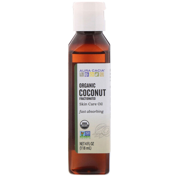 Organic Skin Care Oil, Coconut, Fractionated, 4 fl oz (118 ml)