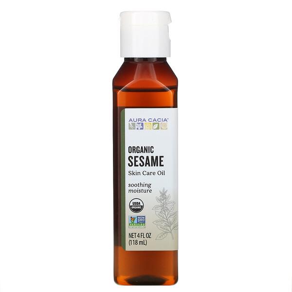 オーガニック スキンケアオイル, セサミ,  4 液量オンス (118  ml)