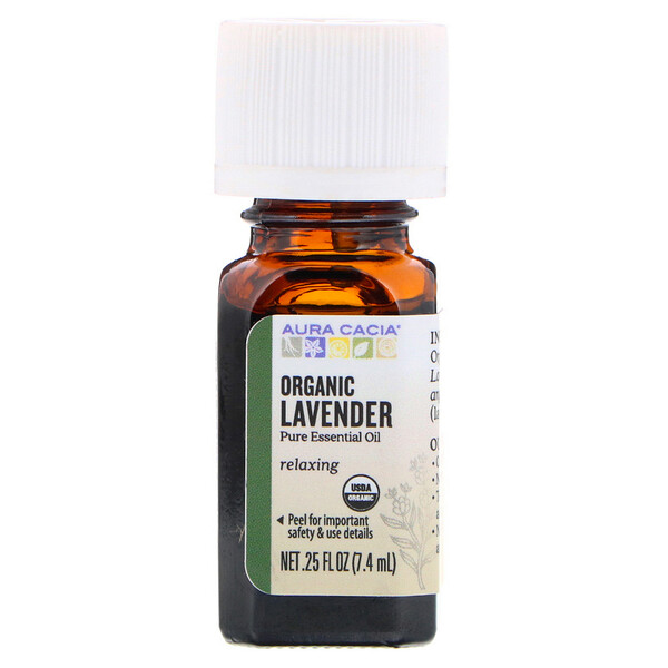 Aura Cacia, Pure Essential Oil, Organic Lavender, .25 fl oz (7.4 ml)