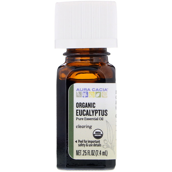 Aura Cacia, Pure Essential Oil, Organic Eucalyptus, 0.25 fl oz (7.4 ml)