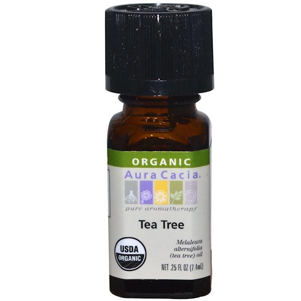 Aura Cacia, 有機, 茶樹, 0、25 液體盎司 (7、4毫升)