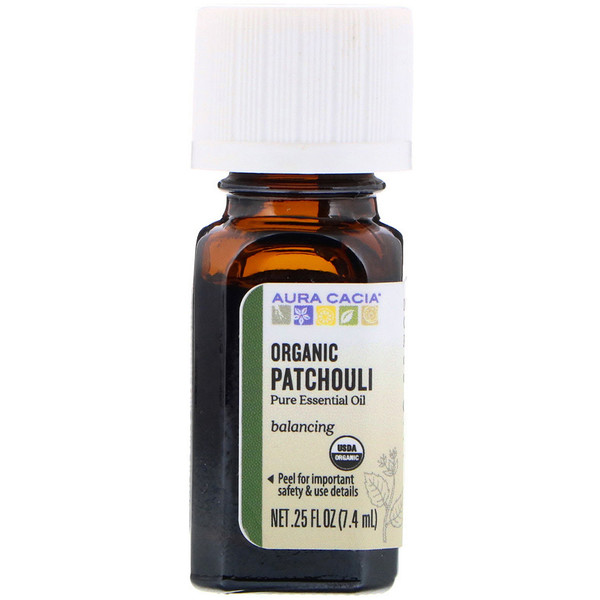 Aura Cacia, Pure Essential Oil, Organic Patchouli, .25 fl oz (7.4 ml) (Discontinued Item)