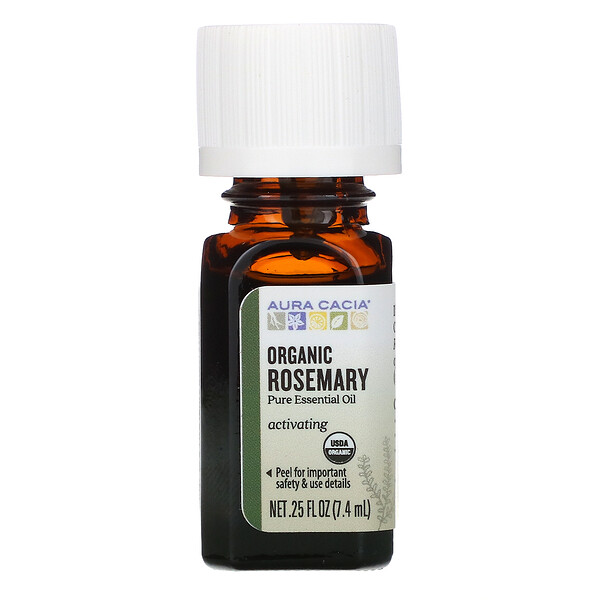 Pure Essential Oil, Organic Rosemary, .25 fl oz (7.4 ml)