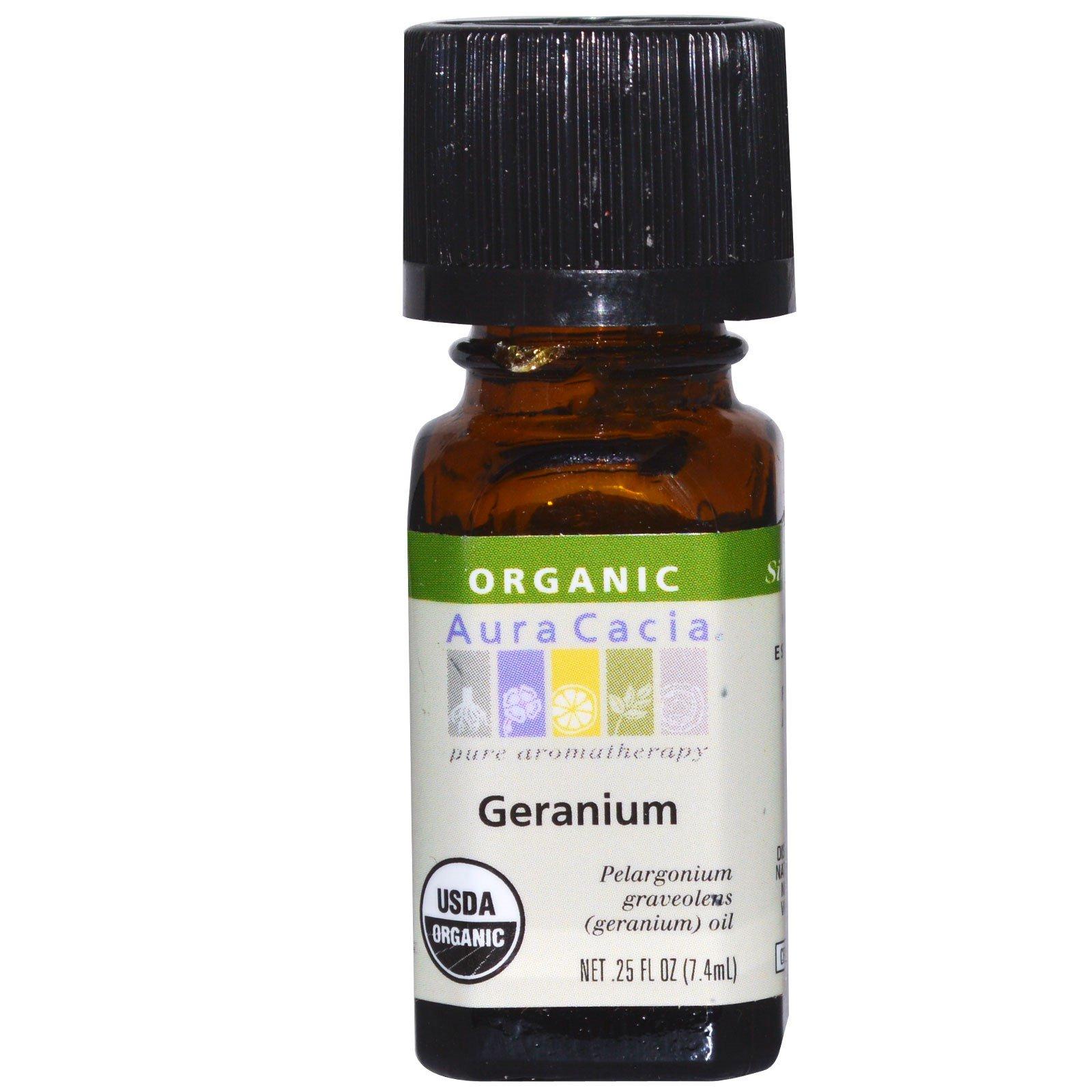 Aura Cacia, Organic, герань, 0,25 жидкой унции (7,4 мл)