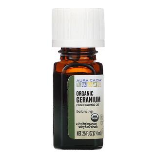 Aura Cacia, Pure Essential Oil, Organic Geranium, 0.25 fl oz (7.4 ml)